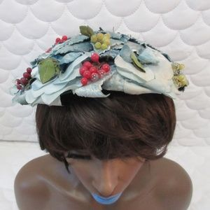 Accessories - Vintage Blue Leaf and Berry Hat